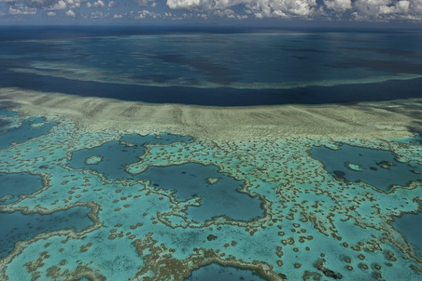 Aerial view of the Great Barrier Reef (Image by Flickr user Greens MPs. Used via Creative Commons).