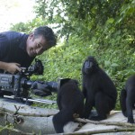 Colin Stafford-Johnson filming Crested Black Macaques. Photo credit: ©Giyarto