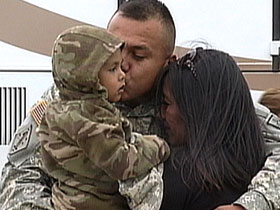 A U.S. soldier returns home