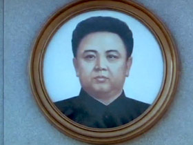 A portrait of the now deceased Kim Jong Il — the former Dear Leader of North Korea