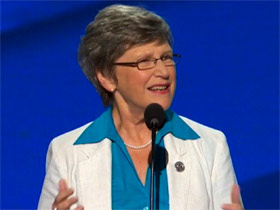 Sister Simone Campbell speaking at DNC