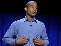 Malcolm London performing spoken word at TED Talks Education