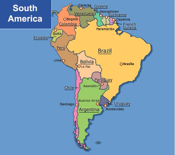south america map with countries and capitals