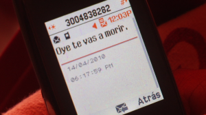 "A text message threat received on Debora Barros's cell phone reads, ""Hey, you're going to die."""