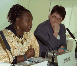 Activists Stella Sabiiti and Igballe Rogova appear on a panel at the Building Peace - Empowering Women symposium in Austria in 2006. Photo: Frank Helmrich