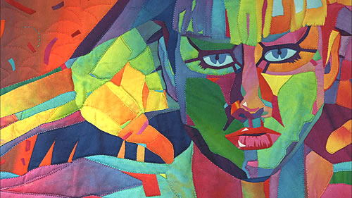 Stylized female portrait with hot color palette.