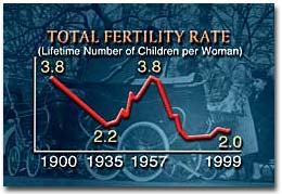 This graph shows the spike of fertility during the Baby Boom