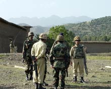 Pakistan army patrol in Waziristan.
