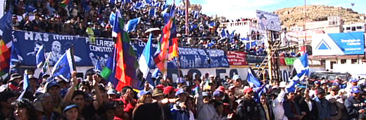Rally for Evo Morales Aima