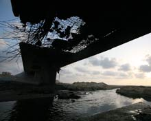 Damaged bridge.
