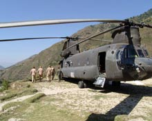 A U.S. Chinook helicopter in service in the affected area.