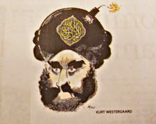 Cartoon depicting Mohammed with a bomb for a turban.