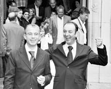 Two men leave the Church after getting married.
