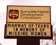 Highway sign showing message about the missing women.