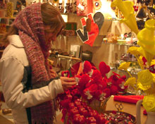 Iranian girl browses items in Valentine's Day gift store