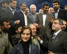 Reporter Jessie Graham at a press conference in Iran.