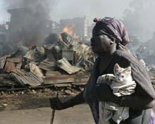 Kenyan slums in flames.