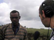 Marco Werman interviews Ethiopian farmer.
