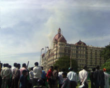 Taj hotel burning.
