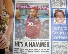 Obama picture in the Sun newspaper.