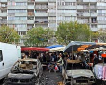 Burned out cars in Paris suburb.
