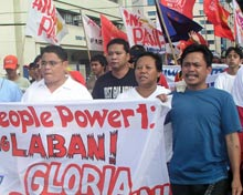 Omar Bantayan at a political march in Davao City.