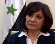 Butheina Shabaan, Syria's Minister of Expatriates.