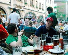 U.S. fans at an outdoor cafe in Germany.