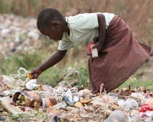 child picking among trash