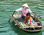 Photo of Vietnamese adult and children in a boat