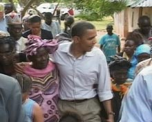 Barack Obama visiting Kenya.