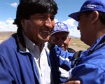 Evo Morales greets supporters