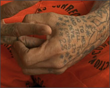 tattooed hands of a prisoner