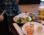 sushi in first class lounge