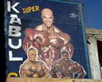 Bodybuilding billboard in Kabul.