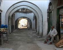 Arched alleyway in Tripoli's old town.