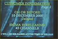 tv screen with Sigma customer info