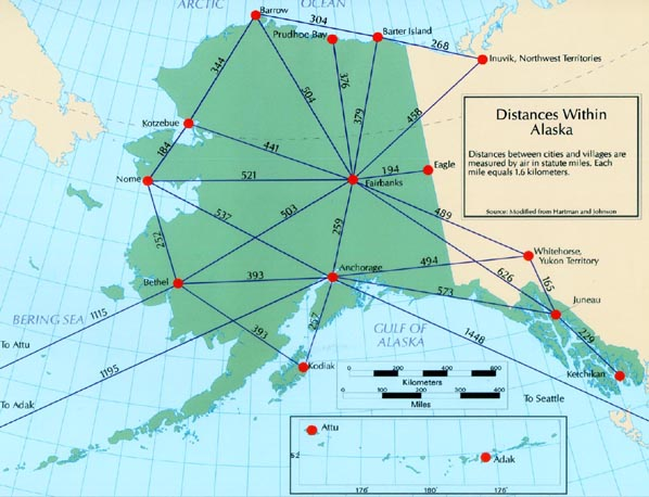 Distances Within Alaska Measured By Air In Status Miles Credit Alaska Geographic Alliance Click Image For A Larger View