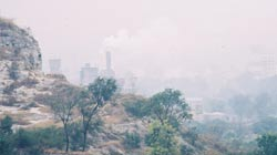 The air is thick with pollution in Liangshan valley, Shandong.