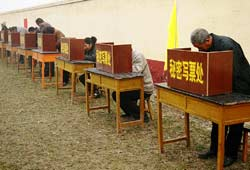 Villagers cast their ballots