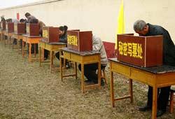 Villagers cast their ballots