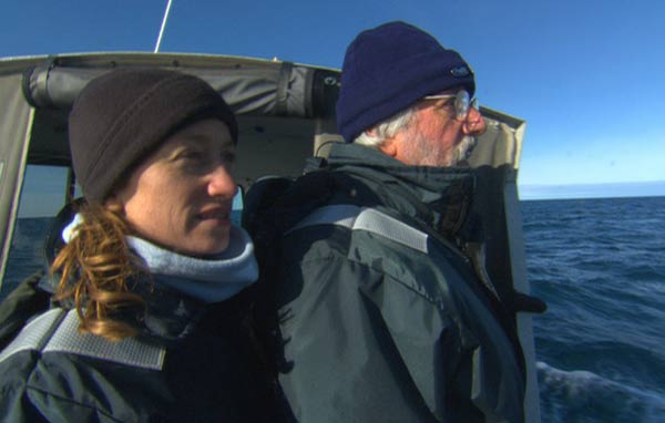 Celine and Jean-Michel Cousteau scan the horizon for gray whales