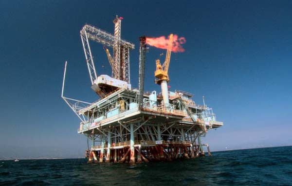 oil platform in the open ocean