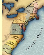 From Colonies To Revolution - Colonial us map