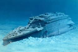 the titanic's bow as it appears today