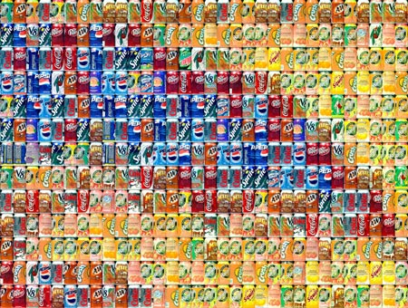 Cans Seurat (magnified) by Chris Jordan