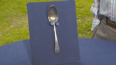Green Velvet Silver Spoon Case Vintage
