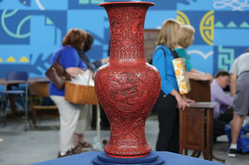Beautifull Chinese Cinnabar Vase H11cm Red Carved Lacquer Vase