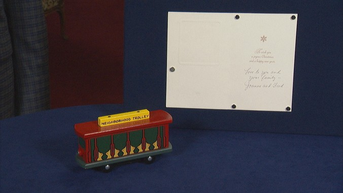 Fred Joanne Rogers Signed Trolley Card Ca 2000 Antiques Roadshow Pbs