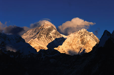Sunset on the Everest massif as seen from Gokyo.